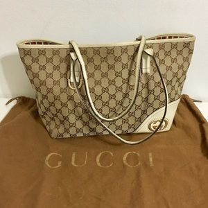 Used GUCCI Monogram authentic canvas tote leather